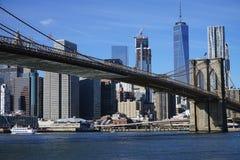 布鲁克林大桥纽约曼哈顿哈得逊河 库存图片