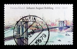 布鲁克林大桥,约翰8月Robling serie诞生二百周年,大约2006年 免版税库存图片