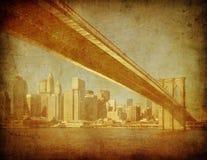 布鲁克林大桥,纽约,美国的Grunge图象 库存照片