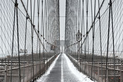 布鲁克林大桥,暴风雪-纽约 库存图片
