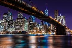 布鲁克林大桥-长的曝光 免版税库存照片