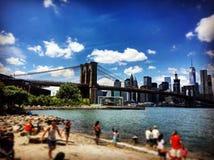 布鲁克林大桥DUMBO视图  免版税图库摄影