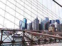 布鲁克林大桥skycrapers,纽约 免版税库存图片
