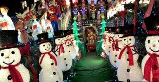 布鲁克林,纽约- 2017年12月20日- Dyker高度圣诞灯在假日装饰为 免版税库存照片