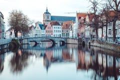 布鲁基,富兰德,比利时的古城中心 库存图片