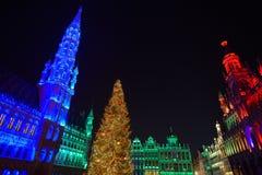 布鲁塞尔、比利时- 2016年12月05日-圣诞节声音和光在布鲁塞尔大广场显示 免版税库存图片
