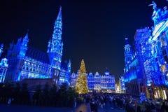布鲁塞尔、比利时- 2016年12月05日-圣诞节声音和光在布鲁塞尔大广场显示 免版税图库摄影