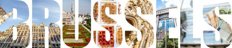 布鲁塞尔信件用图片填装了从布鲁塞尔市 免版税图库摄影