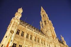 布鲁塞尔夜间大厅城镇 免版税库存照片