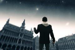 布鲁塞尔夜 美国航空航天局装备的这个图象的元素 免版税图库摄影