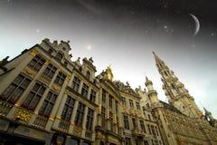 布鲁塞尔夜 库存照片