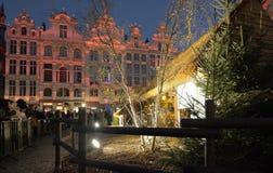 布鲁塞尔大广场和饲槽场面的圣诞节照明 图库摄影