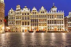 布鲁塞尔大广场广场在晚上在比利时,布鲁塞尔 免版税库存照片