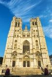布鲁塞尔大教堂的门面在比利时 免版税图库摄影