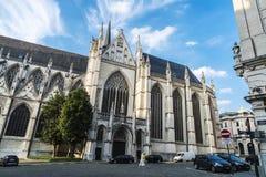 布鲁塞尔大教堂的门面在比利时 库存图片