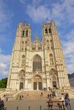 布鲁塞尔大教堂门面  免版税库存图片
