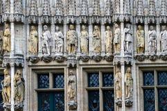 布鲁塞尔市城镇厅哥特式样式门面布鲁塞尔大广场位于布鲁塞尔,比利时 免版税图库摄影