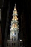 布鲁塞尔市政厅塔 免版税库存图片