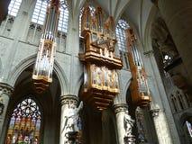布鲁塞尔教会michel器官圣徒 免版税图库摄影