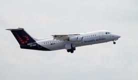 布鲁塞尔航空公司Avro 146个RJ100 免版税库存图片