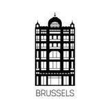 布鲁塞尔著名大厦黑剪影样式的 免版税库存图片