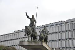 布鲁塞尔,对唐吉诃德,比利时, 12月的一座纪念碑 2013年 库存照片