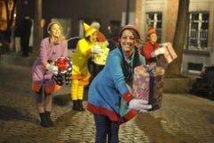 布鲁塞尔,比利时,圣诞节游行, 12月 2013年 图库摄影
