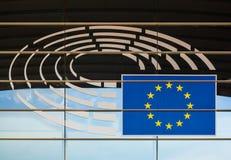 布鲁塞尔,比利时- 2017年5月03日:在欧洲议会的标志 库存照片