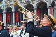 布鲁塞尔,比利时- 2014年9月07日:在盛大正方形的演奏在布鲁塞尔的中心 免版税库存照片
