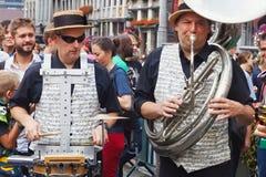 布鲁塞尔,比利时- 2014年9月07日:在盛大正方形的演奏在布鲁塞尔的中心 免版税库存图片