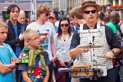 布鲁塞尔,比利时- 2014年9月07日:在盛大正方形的演奏在布鲁塞尔的中心 库存照片