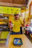 布鲁塞尔,比利时- 2015年8月11日, :快餐 库存照片