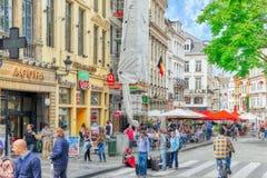 布鲁塞尔,比利时- 2016年7月07日:城市观看舒适欧洲人cit 库存照片