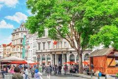 布鲁塞尔,比利时- 2016年7月07日:城市观看舒适欧洲人cit 图库摄影