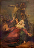 布鲁塞尔-发怒scne的证言吉恩巴帝斯特在Notre Dame de la Chapelle的van Eycken (1809 - 1853) 库存照片