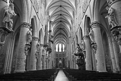 布鲁塞尔-圣迈克尔大教堂教堂中殿  免版税图库摄影