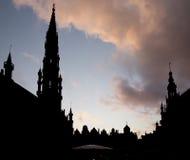 布鲁塞尔-大广场的剪影 库存图片