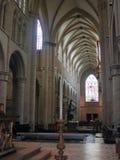 布鲁塞尔-大教堂的中央教堂中殿 图库摄影