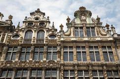 布鲁塞尔-宫殿门面- Grote Markt。 免版税库存图片