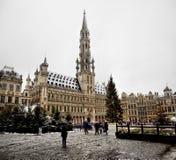 布鲁塞尔- 12月10 :圣诞树在布鲁塞尔大广场,布鲁塞尔中心广场在雪盖了 库存图片