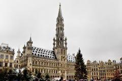 布鲁塞尔- 12月10 :圣诞树在布鲁塞尔大广场,布鲁塞尔中心广场在雪盖了 免版税库存图片