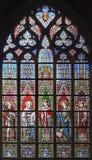 布鲁塞尔-窗玻璃在教会Notre Dame里 免版税库存图片