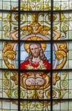 布鲁塞尔-耶稣的心脏窗玻璃的在教会Notre Dame辅助财宝Claires在Keer前1月van (1904) 免版税库存照片
