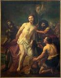 布鲁塞尔-耶稣被剥夺他的服装 油漆吉恩巴帝斯特在Notre Dame de la Chapelle的van Eycken (1809 - 1853) 库存照片