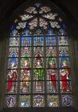 布鲁塞尔-视窗表单教会Notre Dame du Sablon 库存图片