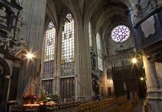布鲁塞尔- Notre Dame du Sablon教会 库存照片