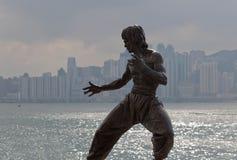 布鲁斯・香港庇护sha雕象tsim tsui 免版税库存图片