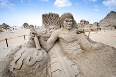 布鲁斯庇护铺沙雕塑 免版税库存图片
