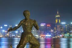 布鲁斯・香港庇护雕象 免版税库存照片