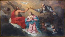 布鲁日由J的圣母玛丽亚油漆的加冕 Garemijn (1750) 免版税库存图片